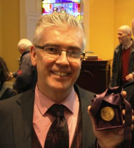 Professor Henry Curran displays his Boyle Higgins Gold Medal after his lecture at the Royal College of Surgeons on 26 April 2017.